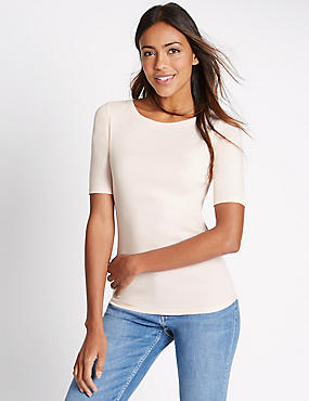 Pure Cotton Slash Neck Half Sleeve T-Shirt, BLUSH, catlanding