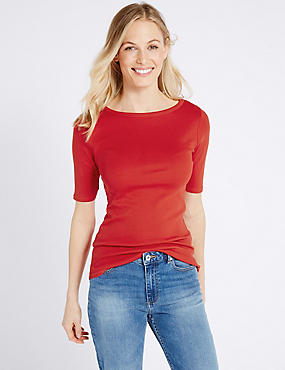 Pure Cotton Slash Neck Half Sleeve T-Shirt, BRIGHT RED, catlanding