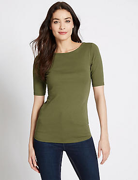 Pure Cotton Boat Neck Half Sleeve T-Shirt, SAGE, catlanding