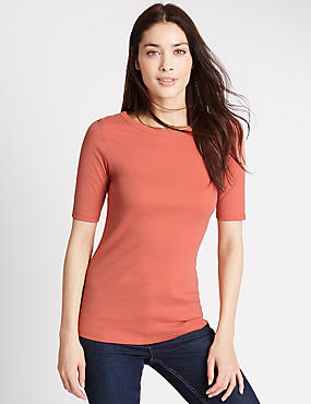 Pure Cotton Slash Neck Half Sleeve T-Shirt, COPPER ROSE, catlanding