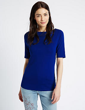 Pure Cotton Slash Neck Half Sleeve T-Shirt, COBALT, catlanding