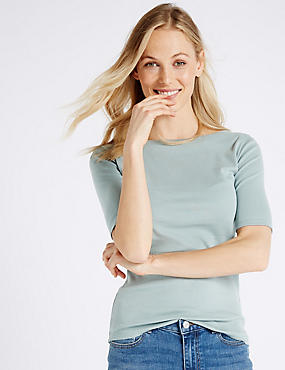 Pure Cotton Slash Neck Half Sleeve T-Shirt, DUSTY BLUE, catlanding