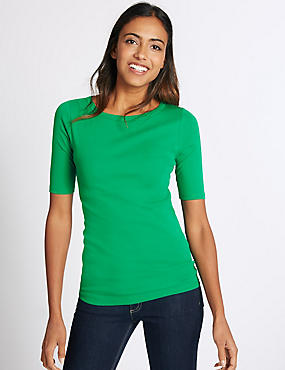 Pure Cotton Slash Neck Half Sleeve T-Shirt, GREEN, catlanding