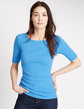 Pure Cotton Slash Neck Half Sleeve T-Shirt, FRESH BLUE, catlanding