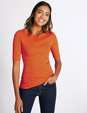 Pure Cotton Boat Neck Half Sleeve T-Shirt, BRIGHT ORANGE, catlanding