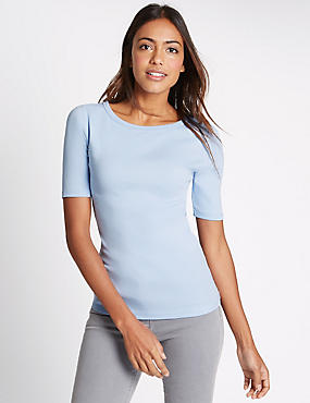 Pure Cotton Slash Neck Half Sleeve T-Shirt, PALE BLUE, catlanding