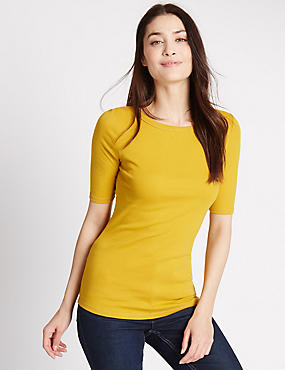 Pure Cotton Slash Neck Half Sleeve T-Shirt, CHARTREUSE, catlanding