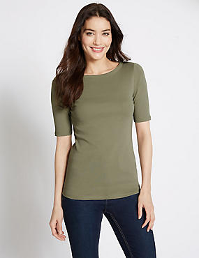 Pure Cotton Boat Neck Half Sleeve T-Shirt, SOFT KHAKI, catlanding