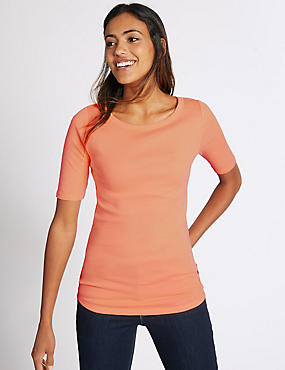 Pure Cotton Slash Neck Half Sleeve T-Shirt, APRICOT, catlanding