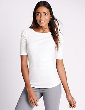 Pure Cotton Slash Neck Half Sleeve T-Shirt, WHITE, catlanding