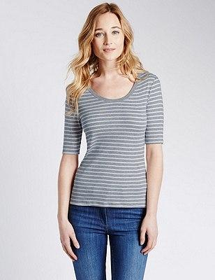 Pure Cotton Striped T-Shirt, GREY MIX, catlanding