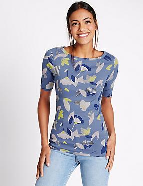 Pure Cotton Floral Print Slash Neck T-Shirt, DENIM MIX, catlanding