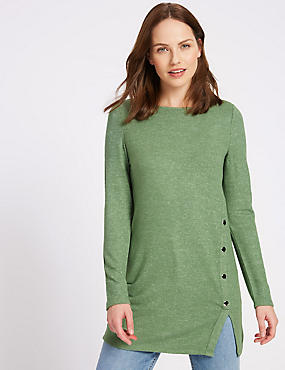 Longline Knitted Button Detail Tunic, GREEN, catlanding