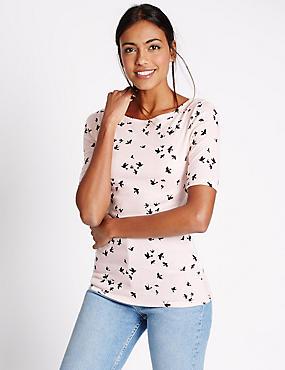 Pure Cotton Bird Print Slash Neck T-Shirt, PINK MIX, catlanding