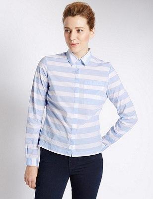 Pure Cotton Fuller Bust Bold Striped Shirt, BLUE MIX, catlanding