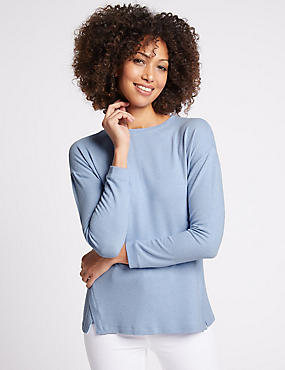 Knitted Round Neck Long Sleeve T-Shirt, PALE BLUE, catlanding