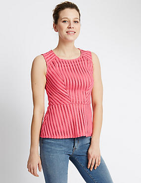 Sleeveless Textured Peplum Camisole Top