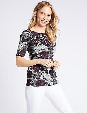 Pure Cotton Floral Print Half Sleeve T-Shirt , NAVY MIX, catlanding