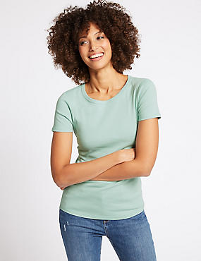 Pure Cotton Round Neck Short Sleeve T-Shirt , PALE GREEN, catlanding