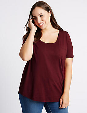 PLUS Scoop Neck Short Sleeve T-Shirt, DARK CLARET, catlanding