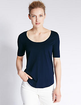 Modal Blend Swing Fit T-Shirt, NAVY, catlanding
