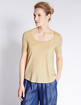 Modal Blend Swing Fit T-Shirt, YELLOW, catlanding
