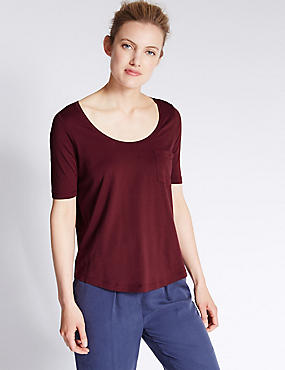 Modal Blend Swing Fit T-Shirt, DARK CLARET, catlanding