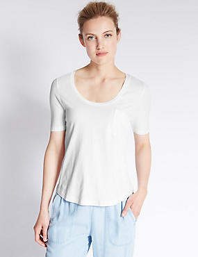 Modal Blend Swing Fit T-Shirt, WHITE, catlanding