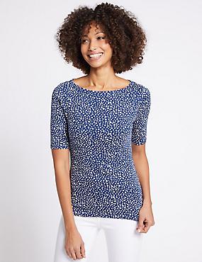 Pure Cotton Spotted Slash Neck T-Shirt, BLUE MIX, catlanding