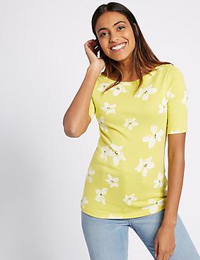 Pure Cotton Floral Print T-Shirt, LIME MIX, catlanding