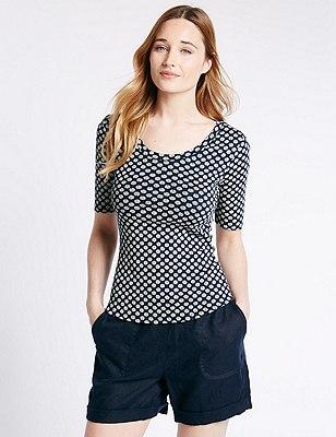 Pure Cotton Slim Fit Geometric Floral T-Shirt, NAVY MIX, catlanding