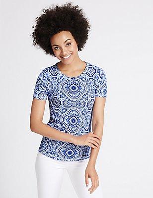 Pure Cotton Tile Print Short Sleeve T-Shirt, BLUE MIX, catlanding