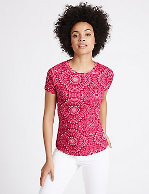 Pure Cotton Printed Short Sleeve T-Shirt, PINK MIX, catlanding