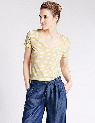 Double Stripe Textured T-Shirt with Linen, YELLOW MIX, catlanding