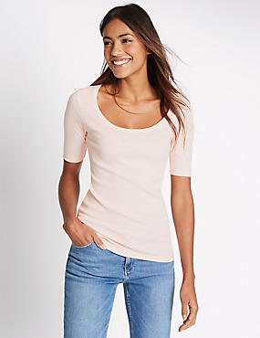 Pure Cotton Scoop Neck Short Sleeve T-Shirt, BLUSH, catlanding