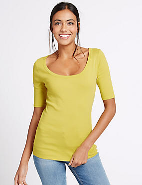 Pure Cotton Scoop Neck Half Sleeve T-Shirt, SUNSHINE, catlanding