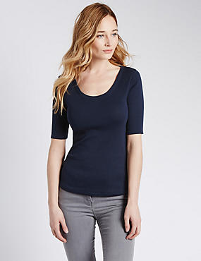 Pure Cotton Scoop Neck Half Sleeve T-Shirt, NAVY, catlanding