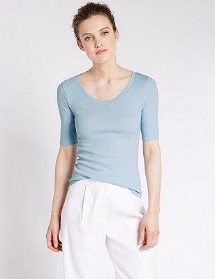 Pure Cotton T-Shirt, PALE BLUE, catlanding