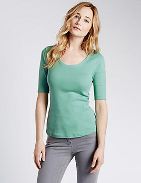 Pure Cotton Scoop Neck Half Sleeve T-Shirt, , catlanding