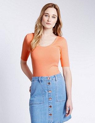 Pure Cotton T-Shirt, APRICOT, catlanding