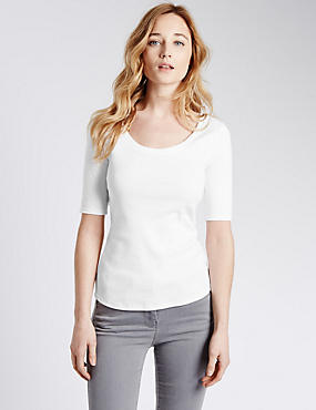 Pure Cotton Scoop Neck Half Sleeve T-Shirt, WHITE, catlanding