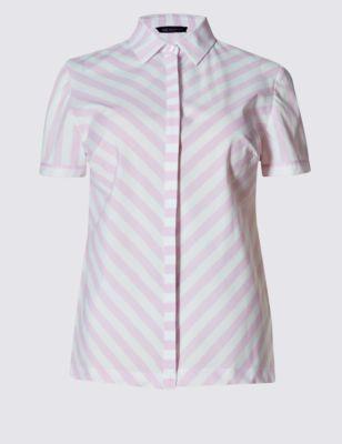 Рубашка с коротким рукавом в шевронную полоску