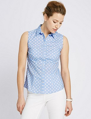 Sleeveless Spotted Shirt, BLUE MIX, catlanding