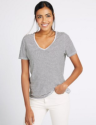 Linen Blend Striped Short Sleeve T-Shirt, BLACK MIX, catlanding