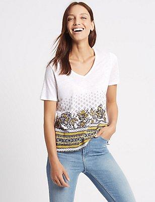 Linen Blend Printed Short Sleeve T-Shirt, NATURAL MIX, catlanding