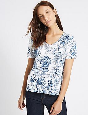Linen Blend Floral Print T-Shirt, NAVY MIX, catlanding