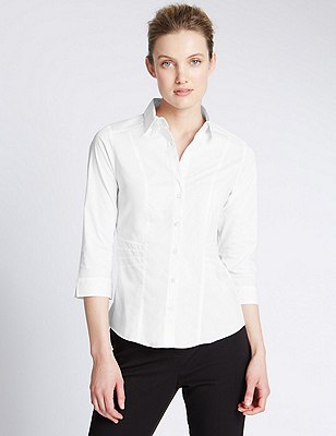 3/4 Sleeve Shirt, WHITE, catlanding