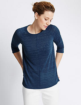 3/4 Sleeve Top with Linen