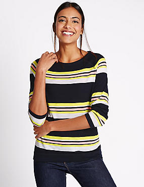 Striped 3/4 Sleeve T-Shirt, MULTI, catlanding