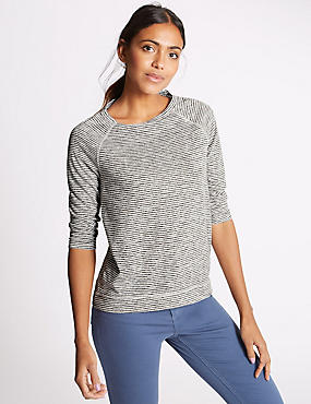 Raglan Striped 3/4 Sleeve T-Shirt, NAVY MIX, catlanding
